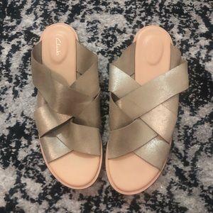 Clarks Champagne Slide Sandals